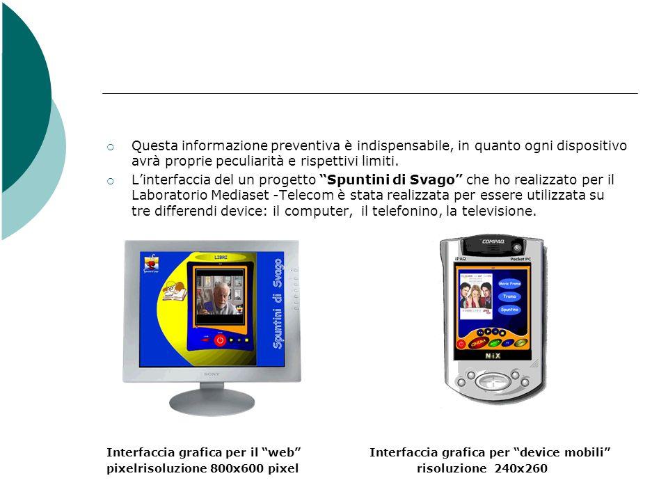 Interfaccia grafica per il device televisivo risoluzione 720x576