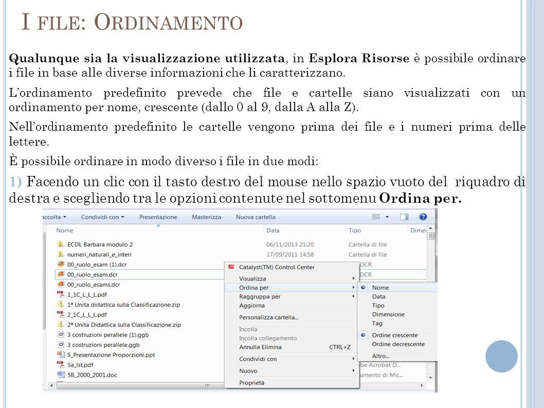 I FILE : O RDINAMENTO Qualunque sia la visualizzazione utilizzata, in Esplora Risorse è possibile ordinare i file in base alle diverse informazioni che li caratterizzano.