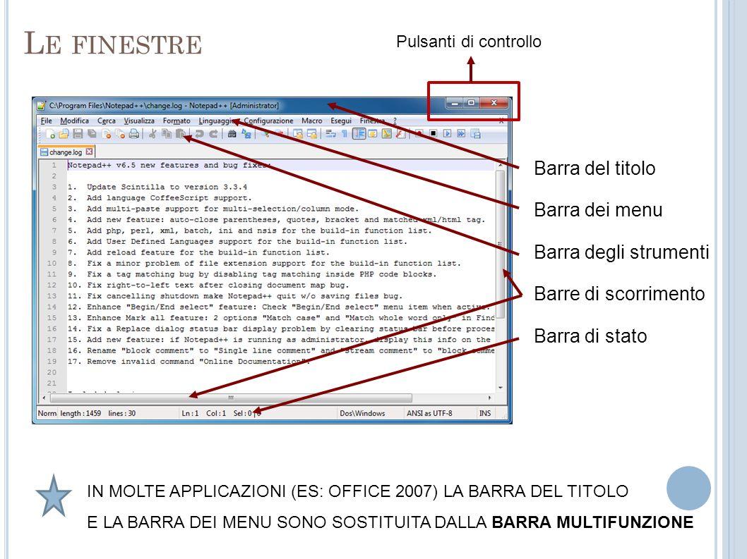 L E FINESTRE Barra del titolo Barra dei menu Barra degli strumenti Barre di scorrimento Barra di stato Pulsanti di controllo IN MOLTE APPLICAZIONI (ES: OFFICE 2007) LA BARRA DEL TITOLO E LA BARRA DEI MENU SONO SOSTITUITA DALLA BARRA MULTIFUNZIONE