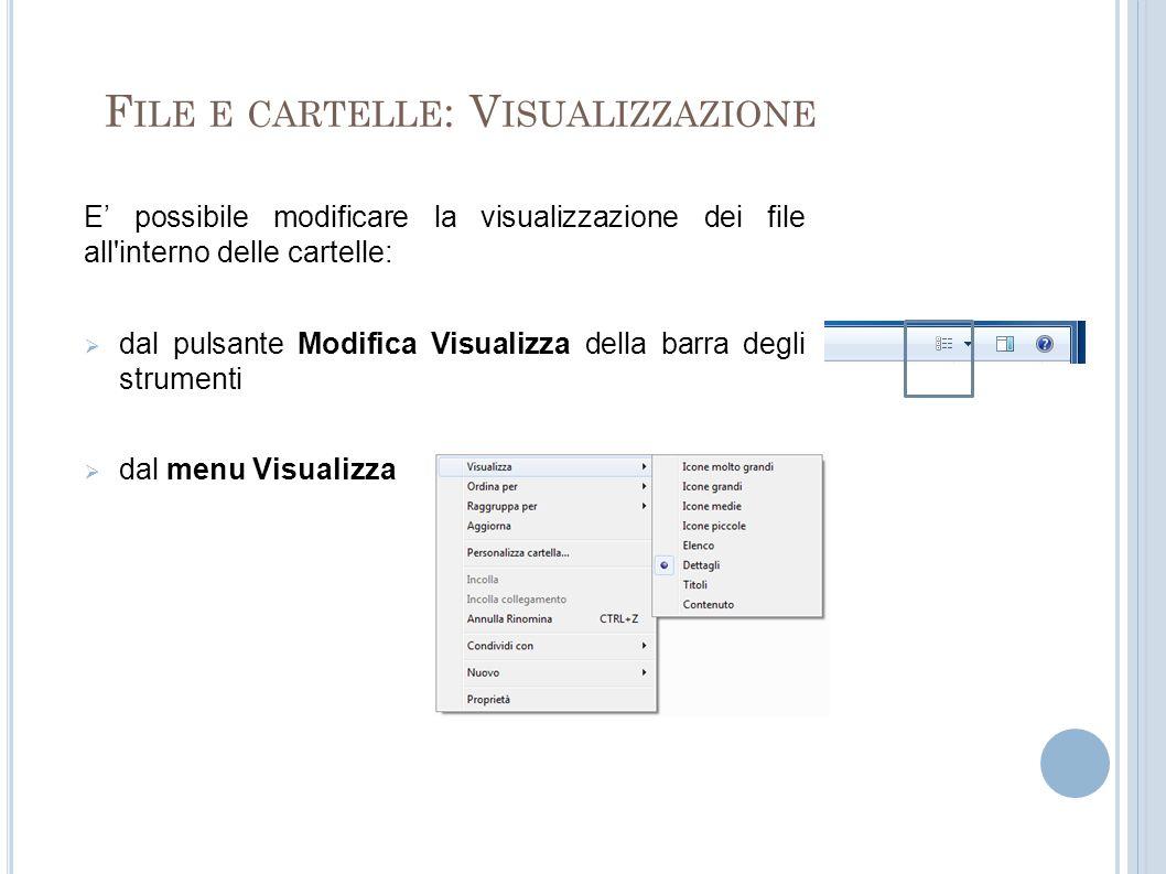 F ILE E CARTELLE : V ISUALIZZAZIONE E possibile modificare la visualizzazione dei file all interno delle cartelle: dal pulsante Modifica Visualizza della barra degli strumenti dal menu Visualizza