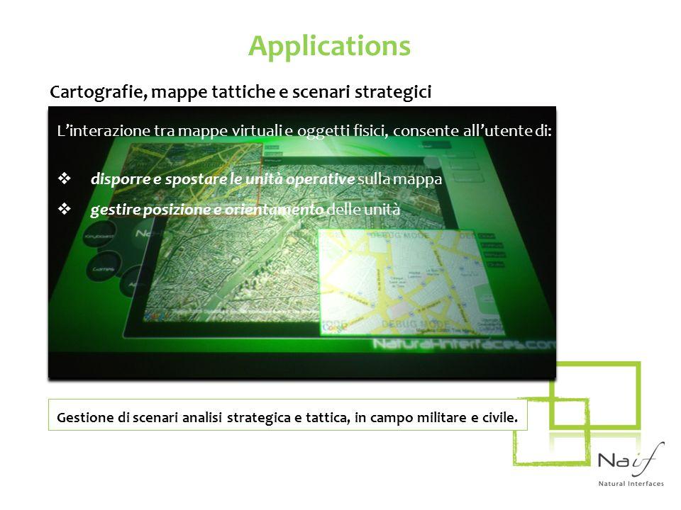Applications Cartografie, mappe tattiche e scenari strategici Linterazione tra mappe virtuali e oggetti fisici, consente allutente di: disporre e spos