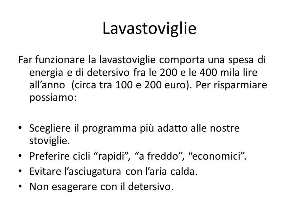 Lavastoviglie Far funzionare la lavastoviglie comporta una spesa di energia e di detersivo fra le 200 e le 400 mila lire allanno (circa tra 100 e 200
