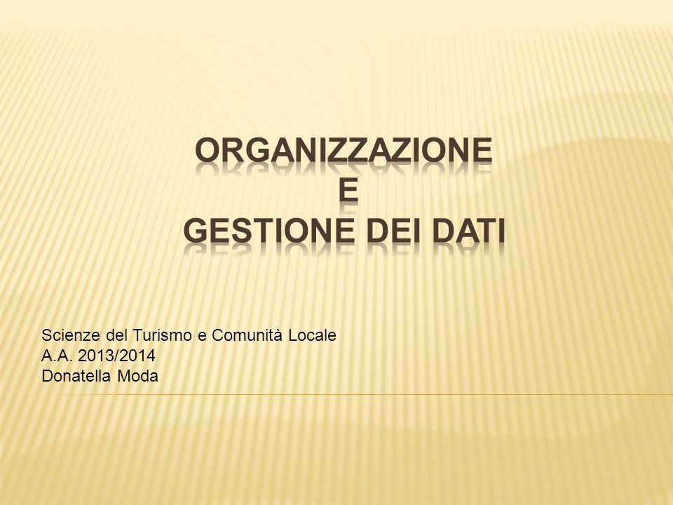 Scienze del Turismo e Comunità Locale A.A. 2013/2014 Donatella Moda