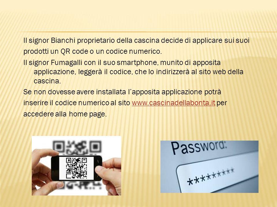 Il signor Bianchi proprietario della cascina decide di applicare sui suoi prodotti un QR code o un codice numerico. Il signor Fumagalli con il suo sma