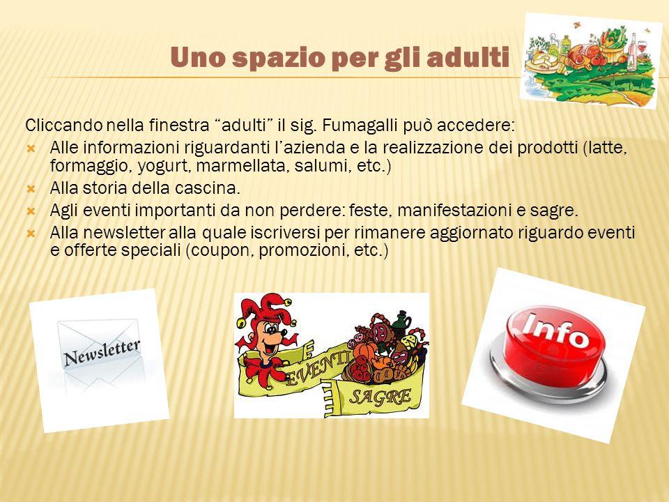 Cliccando nella finestra adulti il sig. Fumagalli può accedere: Alle informazioni riguardanti lazienda e la realizzazione dei prodotti (latte, formagg