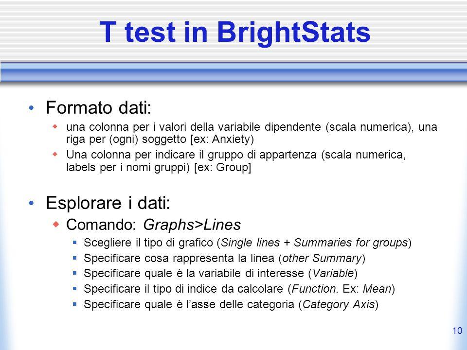 10 T test in BrightStats Formato dati: una colonna per i valori della variabile dipendente (scala numerica), una riga per (ogni) soggetto [ex: Anxiety