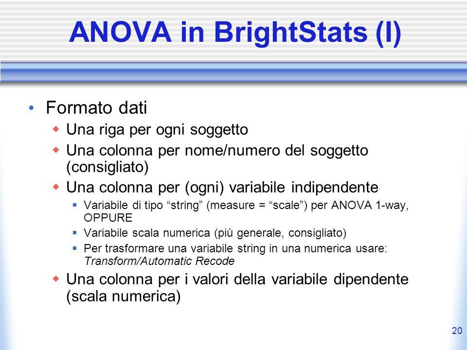 20 ANOVA in BrightStats (I) Formato dati Una riga per ogni soggetto Una colonna per nome/numero del soggetto (consigliato) Una colonna per (ogni) vari