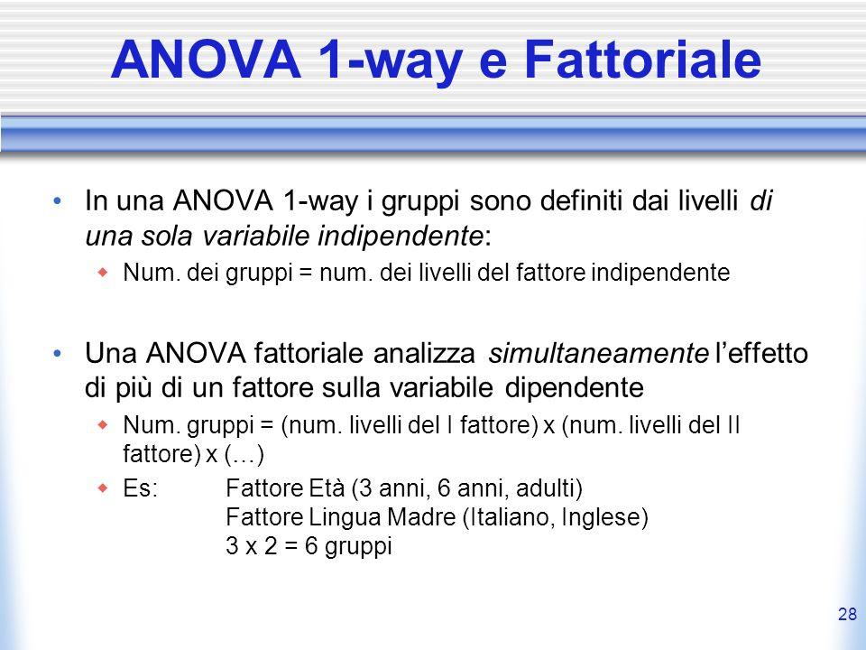 28 ANOVA 1-way e Fattoriale In una ANOVA 1-way i gruppi sono definiti dai livelli di una sola variabile indipendente: Num. dei gruppi = num. dei livel