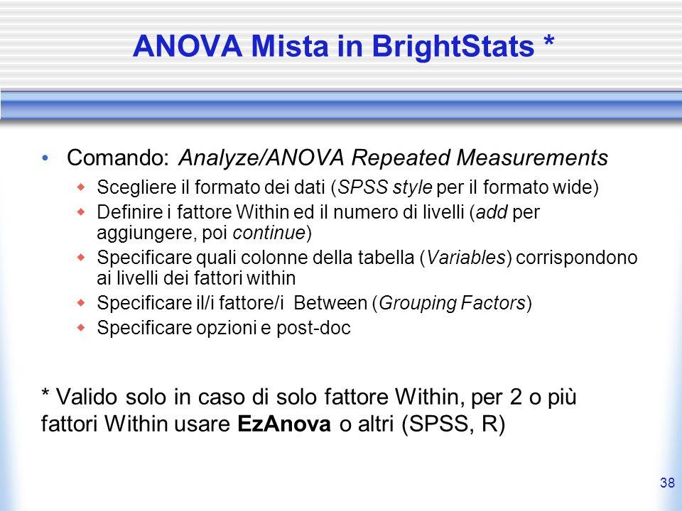 ANOVA Mista in BrightStats * Comando: Analyze/ANOVA Repeated Measurements Scegliere il formato dei dati (SPSS style per il formato wide) Definire i fa