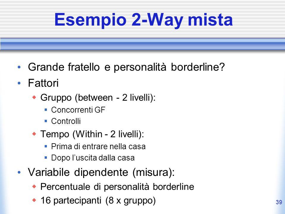 Esempio 2-Way mista Grande fratello e personalità borderline? Fattori Gruppo (between - 2 livelli): Concorrenti GF Controlli Tempo (Within - 2 livelli