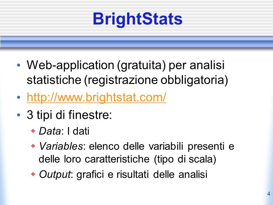 35 ANOVA Misure Ripetute in BrightStats Formato dati Numero di colonne (numeriche) = Numero di livelli fattore Within [EX: tutor = 4] Una riga per ogni soggetto Le celle contengono la variabile dipendente Effettuare il test * Comando: Analyze/Compare Means/Rep.