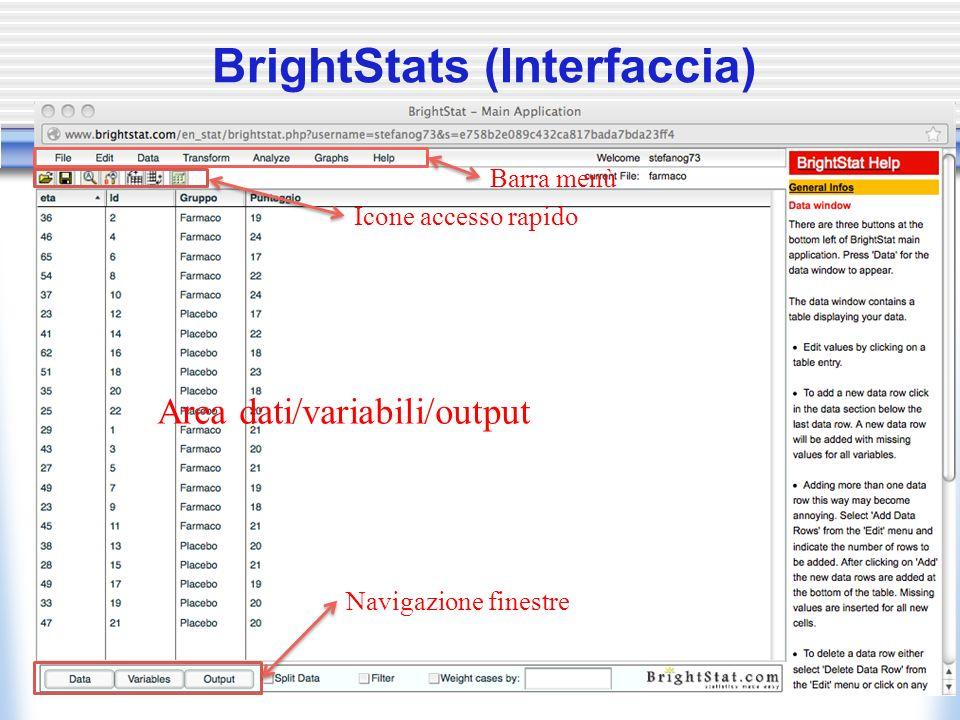 Menu File (gestione file dati) Caricare i dati (da file esterni): 1.Comando: File/Upload Database Scegliere e caricare un file.xls(x) o.txt (occhio al formato) 2.Comando: File/Import from Database Scegliere il file precedentemente uploadato Salvare i dati in locale: Comando: File/Save from Local Specificare il nome del file Caricare i dati (da locale): Comando: File/Load to local Specificare il nome del file 6