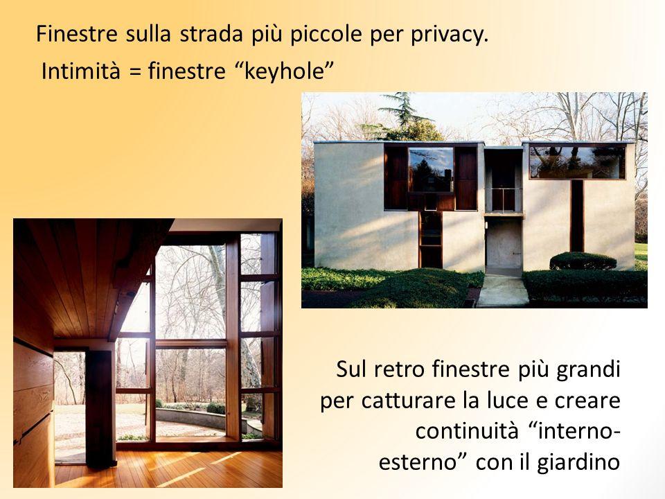 Finestre sulla strada più piccole per privacy. Intimità = finestre keyhole Sul retro finestre più grandi per catturare la luce e creare continuità int