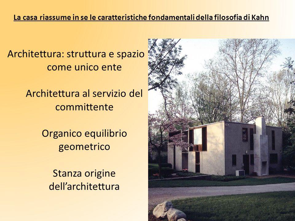 Architettura: struttura e spazio come unico ente Architettura al servizio del committente Organico equilibrio geometrico Stanza origine dellarchitettu