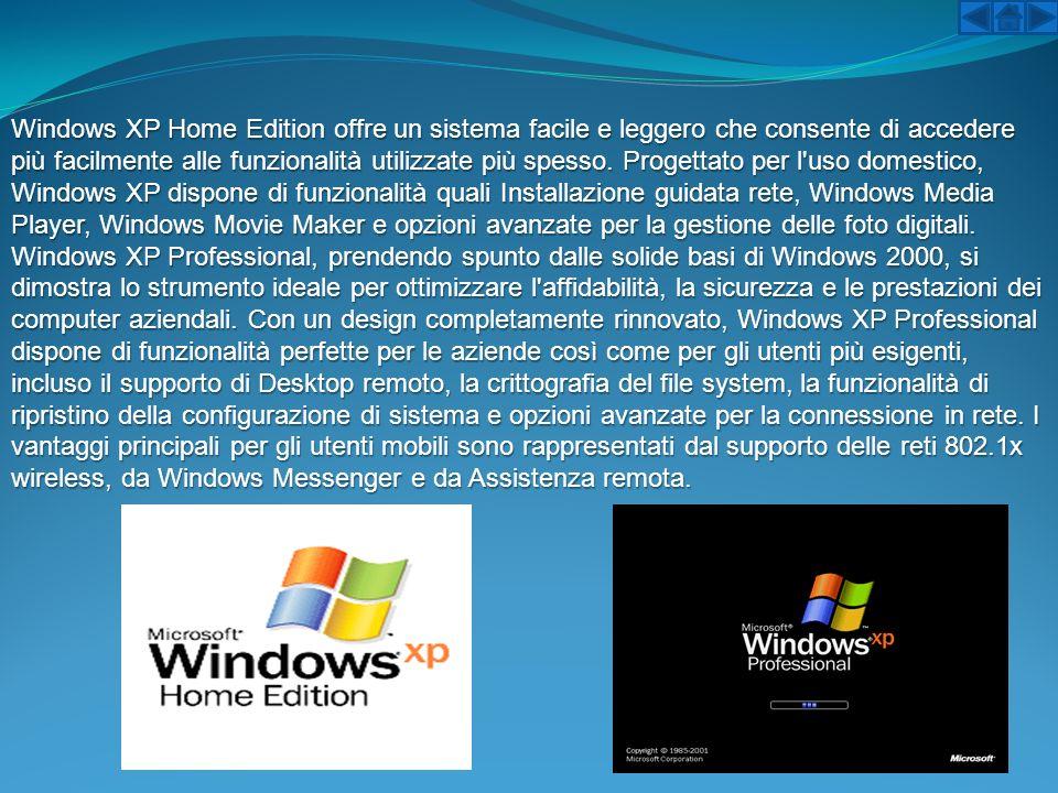 Windows XP Home Edition offre un sistema facile e leggero che consente di accedere più facilmente alle funzionalità utilizzate più spesso. Progettato