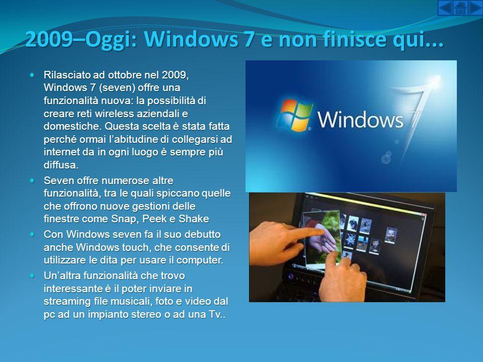 2009–Oggi: Windows 7 e non finisce qui... Rilasciato ad ottobre nel 2009, Windows 7 (seven) offre una funzionalità nuova: la possibilità di creare ret
