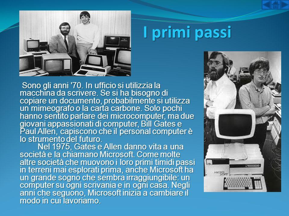 I primi passi Sono gli anni '70. In ufficio si utilizzia la macchina da scrivere. Se si ha bisogno di copiare un documento, probabilmente si utilizza