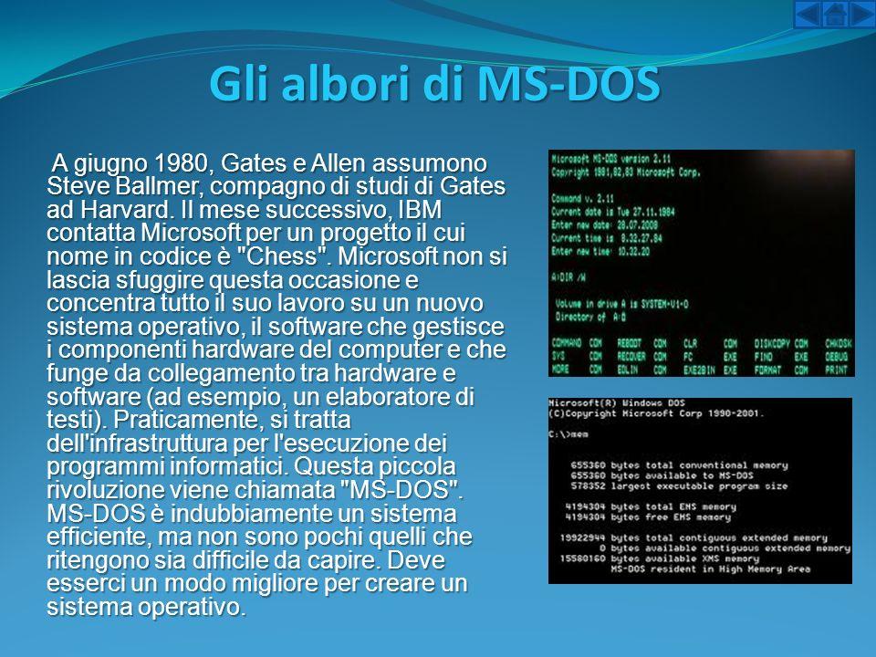 Gli albori di MS-DOS A giugno 1980, Gates e Allen assumono Steve Ballmer, compagno di studi di Gates ad Harvard. Il mese successivo, IBM contatta Micr