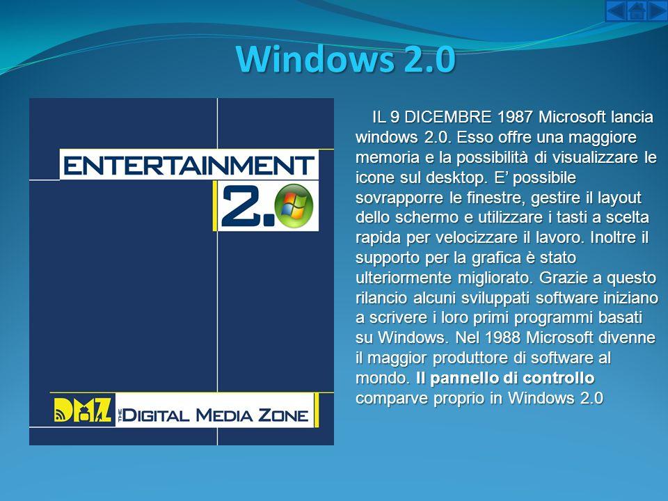 Windows 2.0 IL 9 DICEMBRE 1987 Microsoft lancia windows 2.0. Esso offre una maggiore memoria e la possibilità di visualizzare le icone sul desktop. E