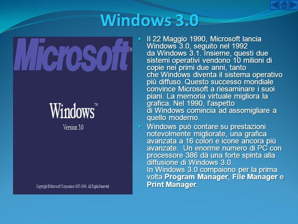 Windows 3.0 Il 22 Maggio 1990, Microsoft lancia Windows 3.0, seguito nel 1992 da Windows 3.1. Insieme, questi due sistemi operativi vendono 10 milioni