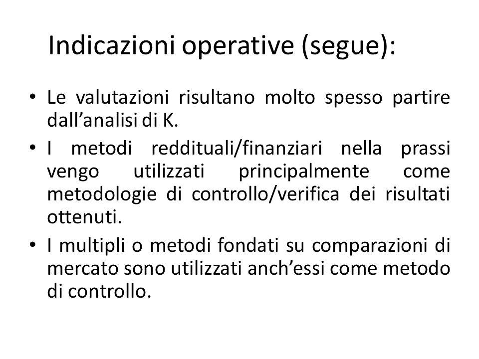 Indicazioni operative (segue): Le valutazioni risultano molto spesso partire dallanalisi di K.