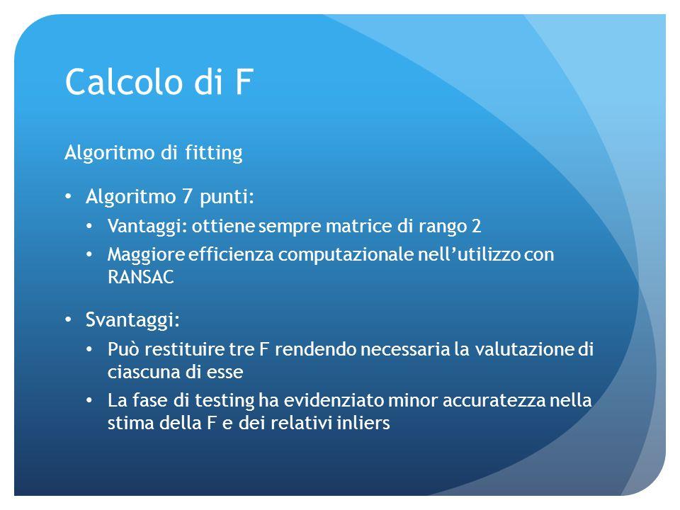 Calcolo di F Per la stima di F si è usato RANSAC Caratteristica: consente una stima robusta garantendo il 97% di correttezza Breve funzionamento: Sele