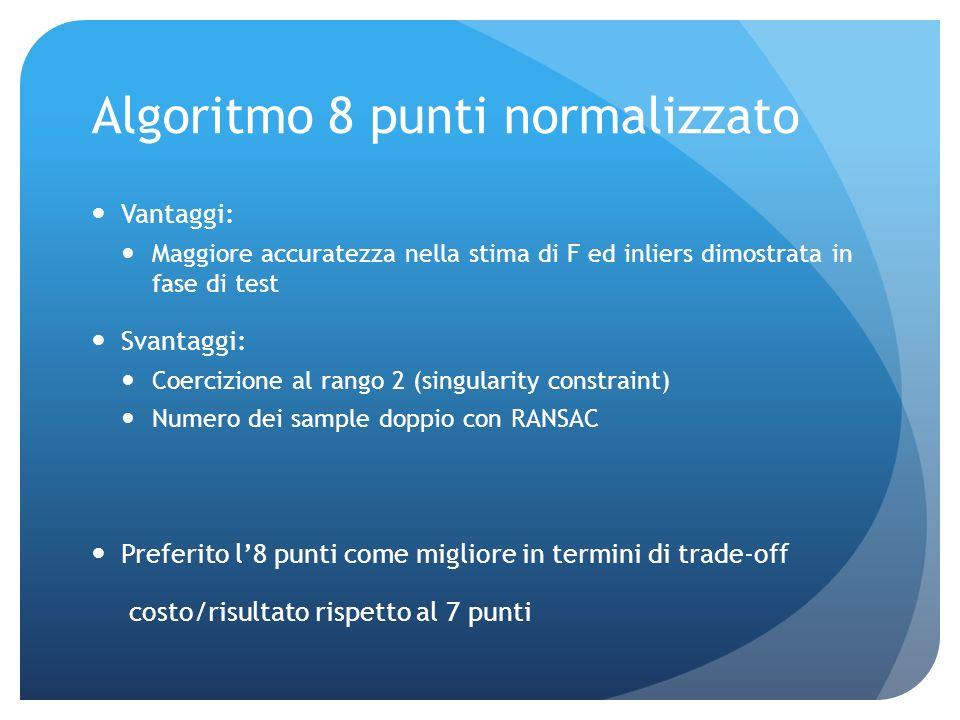 Calcolo di F Algoritmo di fitting Algoritmo 7 punti: Vantaggi: ottiene sempre matrice di rango 2 Maggiore efficienza computazionale nellutilizzo con R