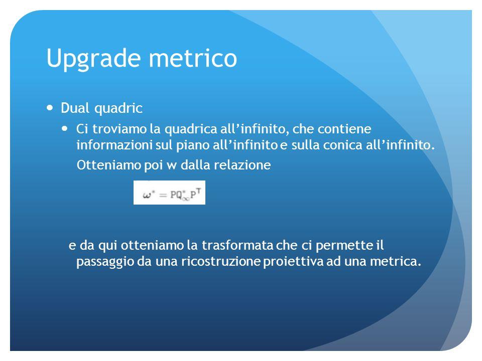 Upgrade metrico Ricerca conica allinfinito(ricostruzione metrica) Abbiamo bisogno di cinque vincoli per definire una conica Supponiamo w12=w21=0 w11=w