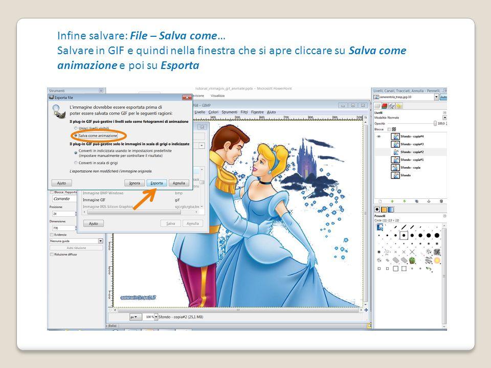 Infine salvare: File – Salva come… Salvare in GIF e quindi nella finestra che si apre cliccare su Salva come animazione e poi su Esporta
