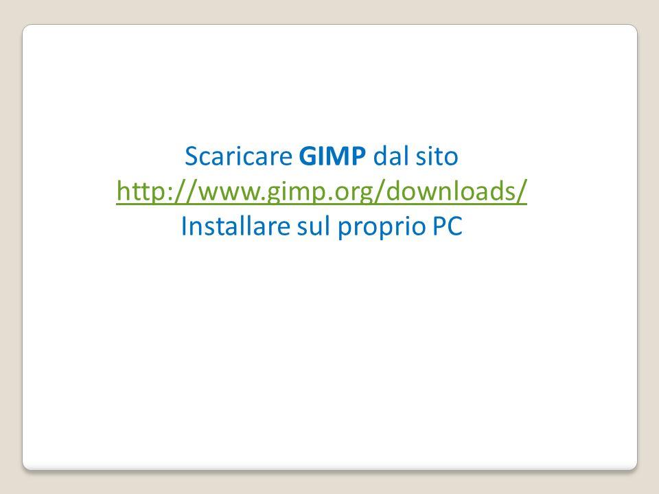 Scaricare GIMP dal sito http://www.gimp.org/downloads/ Installare sul proprio PC