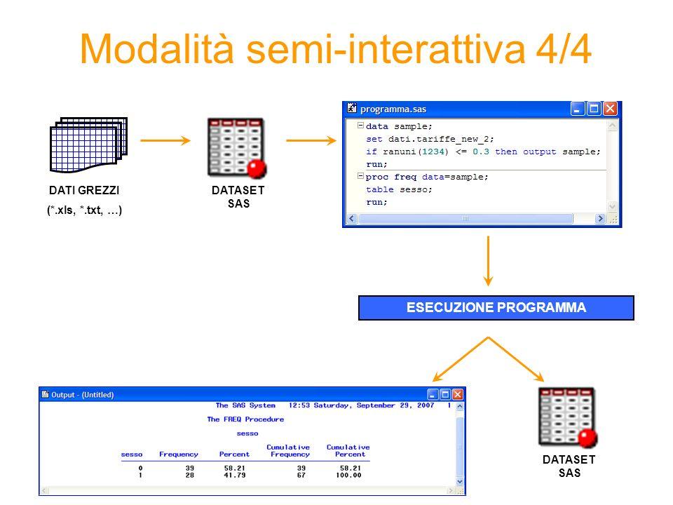 Modalità semi-interattiva 4/4 DATI GREZZI (*.xls, *.txt, …) DATASET SAS ESECUZIONE PROGRAMMA DATASET SAS