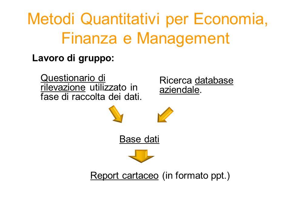 Lavoro di gruppo: Base dati Report cartaceo (in formato ppt.) Metodi Quantitativi per Economia, Finanza e Management Questionario di rilevazione utilizzato in fase di raccolta dei dati.