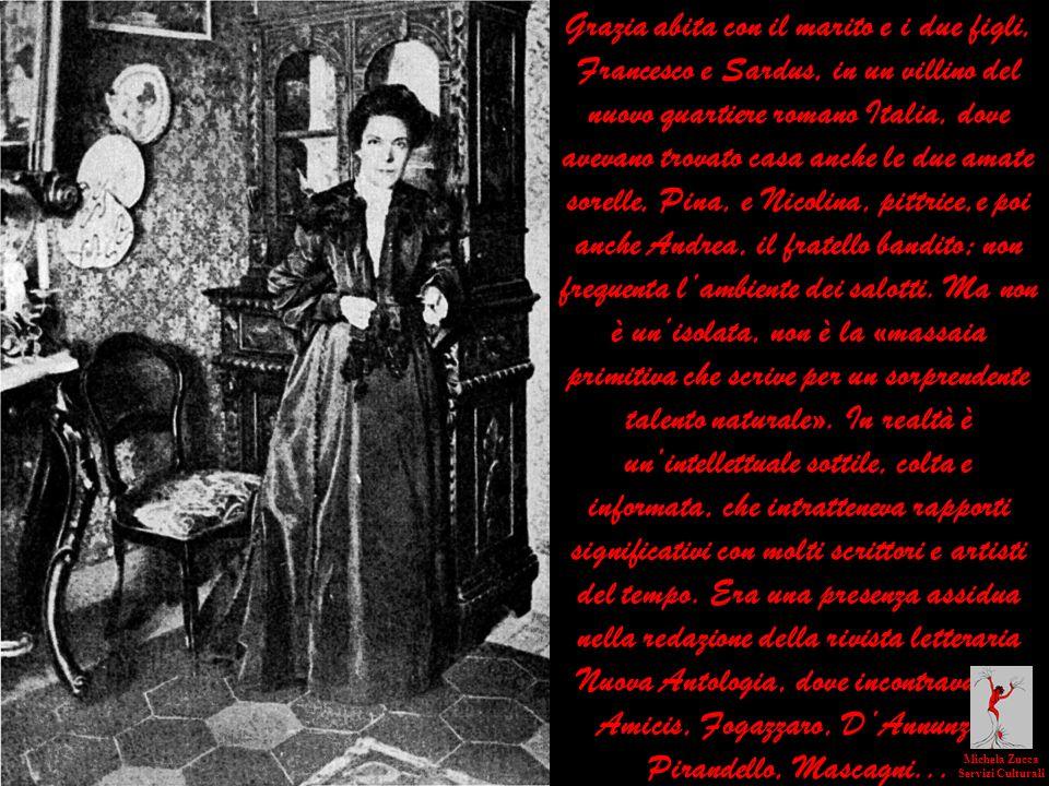 Grazia abita con il marito e i due figli, Francesco e Sardus, in un villino del nuovo quartiere romano Italia, dove avevano trovato casa anche le due
