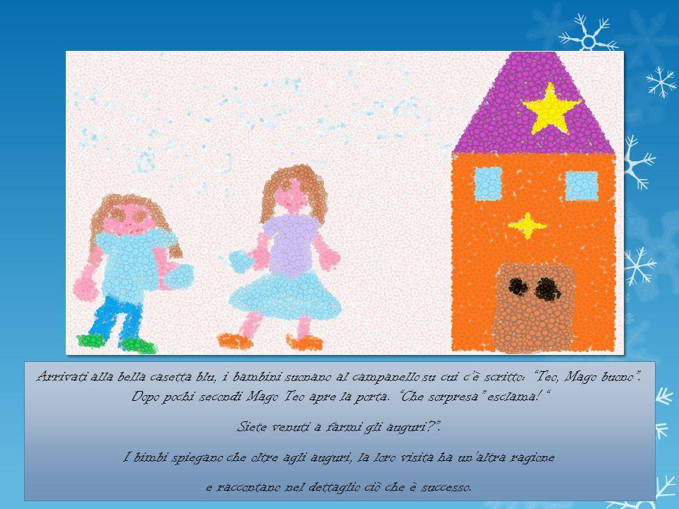 Arrivati alla bella casetta blu, i bambini suonano al campanello su cui cè scritto: Teo, Mago buono.
