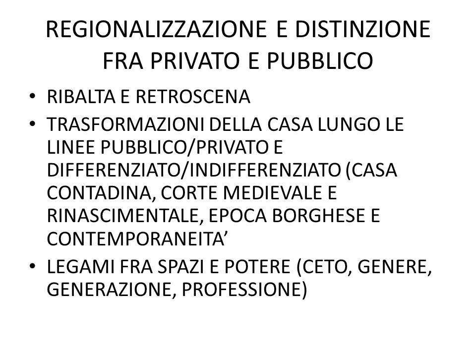 REGIONALIZZAZIONE E DISTINZIONE FRA PRIVATO E PUBBLICO RIBALTA E RETROSCENA TRASFORMAZIONI DELLA CASA LUNGO LE LINEE PUBBLICO/PRIVATO E DIFFERENZIATO/INDIFFERENZIATO (CASA CONTADINA, CORTE MEDIEVALE E RINASCIMENTALE, EPOCA BORGHESE E CONTEMPORANEITA LEGAMI FRA SPAZI E POTERE (CETO, GENERE, GENERAZIONE, PROFESSIONE)