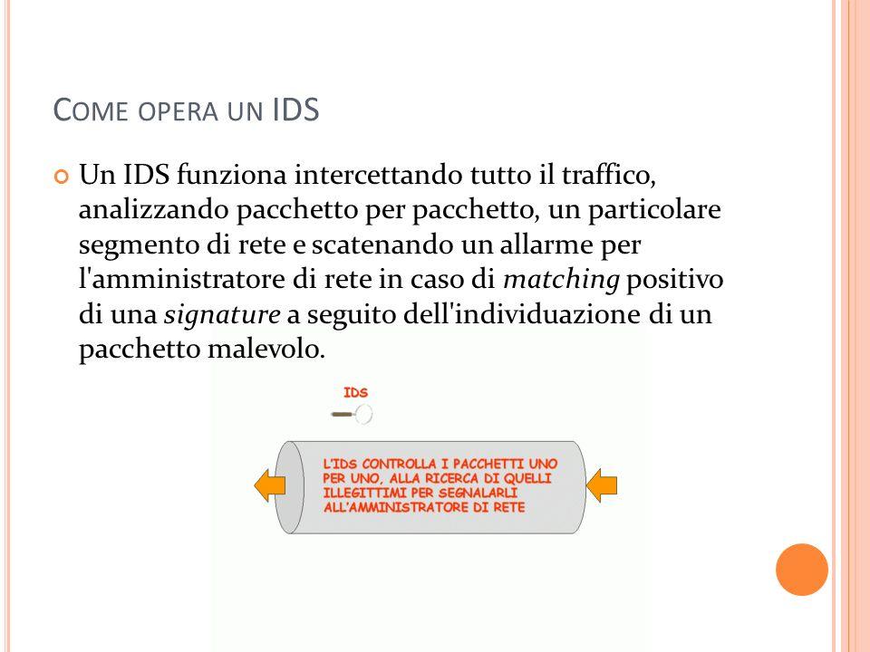 C OME OPERA UN IDS Un IDS funziona intercettando tutto il traffico, analizzando pacchetto per pacchetto, un particolare segmento di rete e scatenando un allarme per l amministratore di rete in caso di matching positivo di una signature a seguito dell individuazione di un pacchetto malevolo.