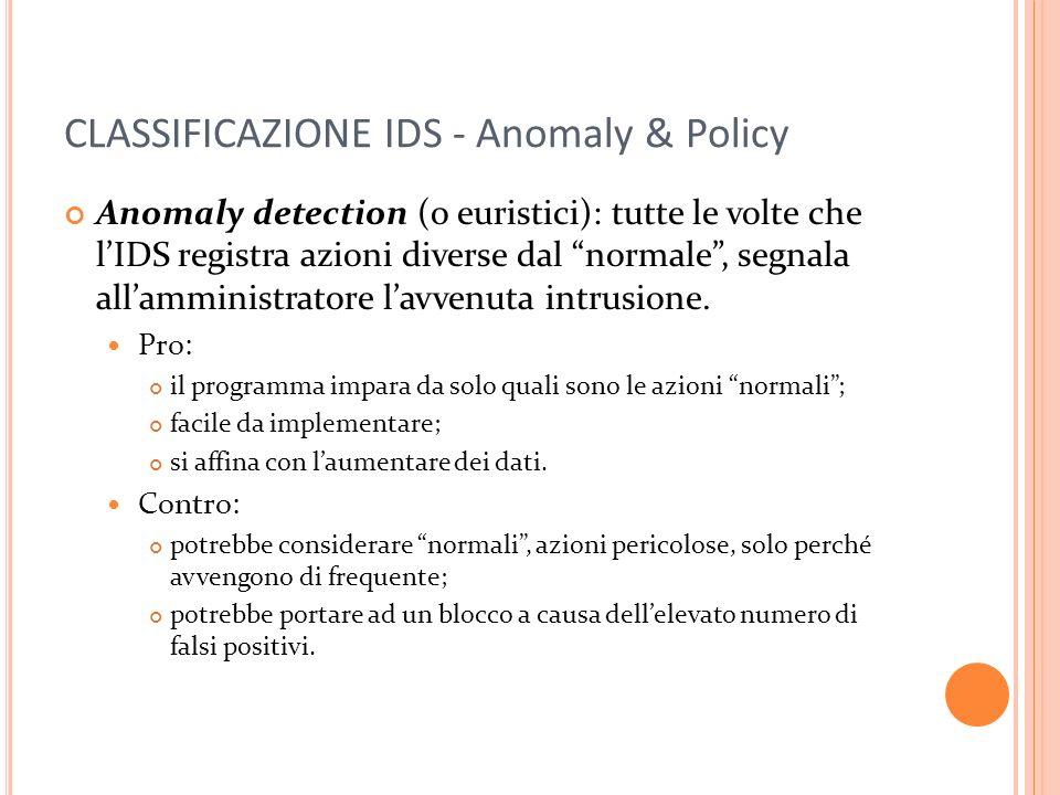 CLASSIFICAZIONE IDS - Anomaly & Policy Anomaly detection (o euristici): tutte le volte che lIDS registra azioni diverse dal normale, segnala allamministratore lavvenuta intrusione.