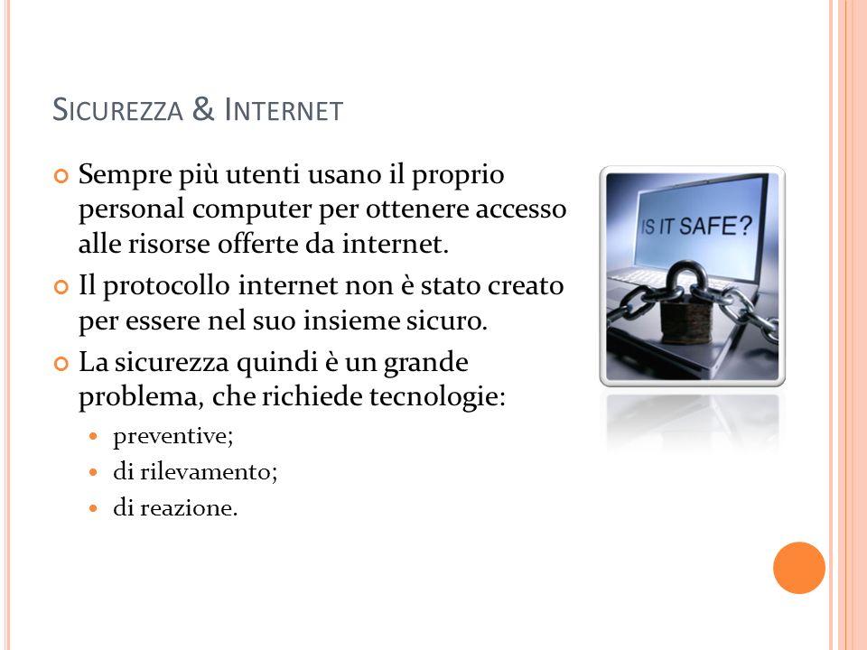 S ICUREZZA & I NTERNET Sempre più utenti usano il proprio personal computer per ottenere accesso alle risorse offerte da internet. Il protocollo inter