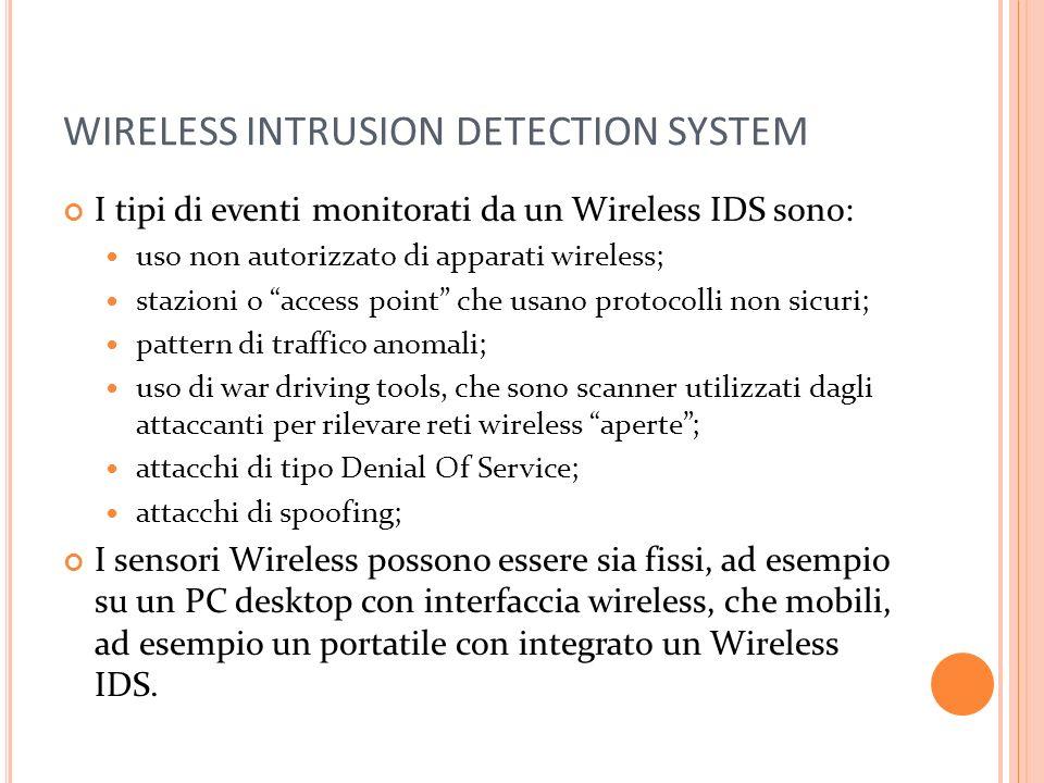 WIRELESS INTRUSION DETECTION SYSTEM I tipi di eventi monitorati da un Wireless IDS sono: uso non autorizzato di apparati wireless; stazioni o access p