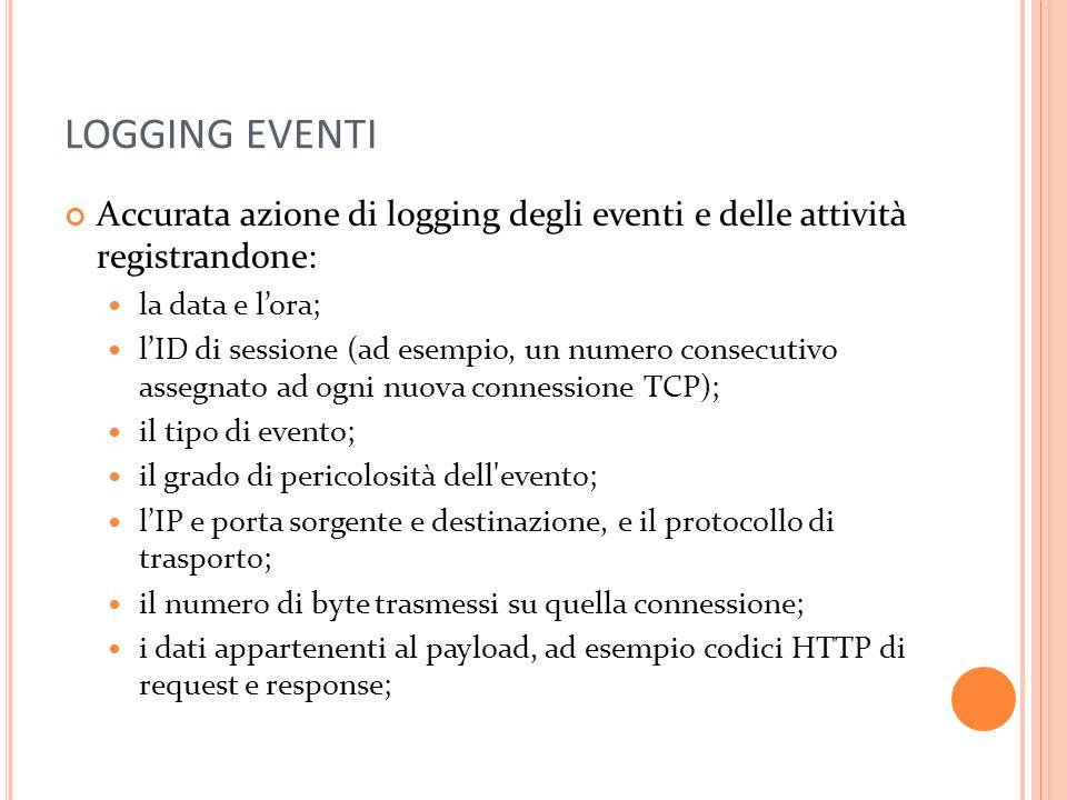 LOGGING EVENTI Accurata azione di logging degli eventi e delle attività registrandone: la data e lora; lID di sessione (ad esempio, un numero consecut