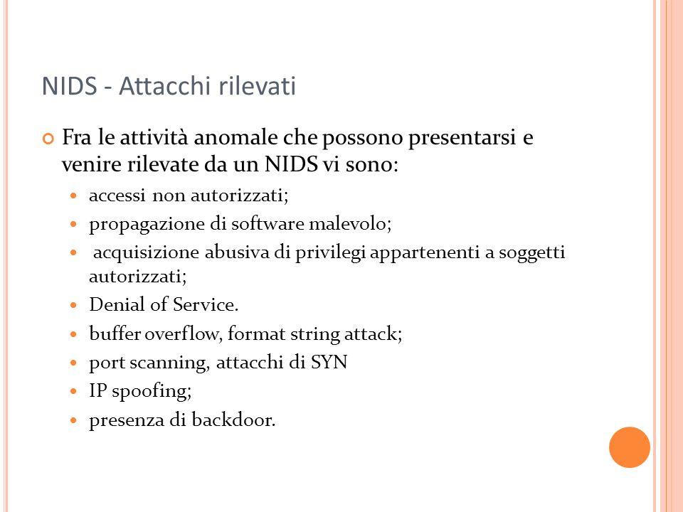 NIDS - Attacchi rilevati Fra le attività anomale che possono presentarsi e venire rilevate da un NIDS vi sono: accessi non autorizzati; propagazione d