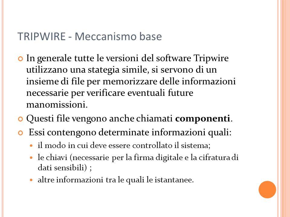 TRIPWIRE - Meccanismo base In generale tutte le versioni del software Tripwire utilizzano una stategia simile, si servono di un insieme di file per memorizzare delle informazioni necessarie per verificare eventuali future manomissioni.