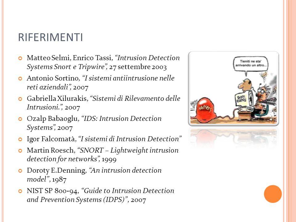 RIFERIMENTI Matteo Selmi, Enrico Tassi, Intrusion Detection Systems Snort e Tripwire, 27 settembre 2003 Antonio Sortino, I sistemi antiintrusione nell