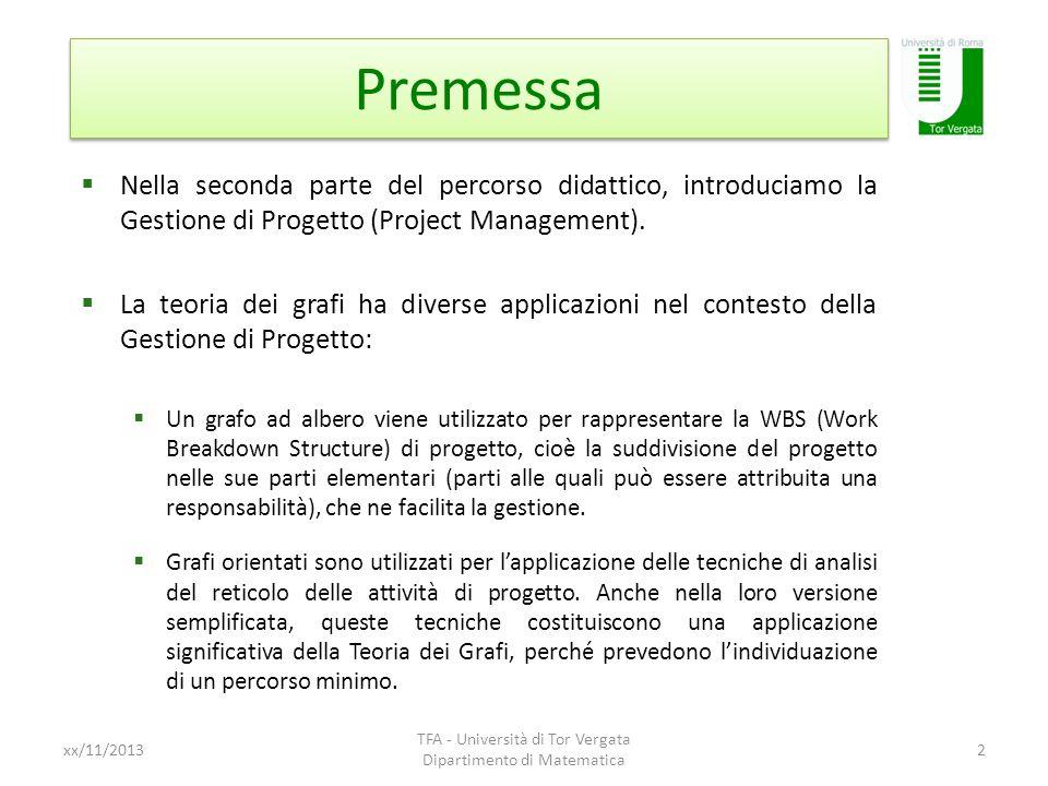 Premessa Nella seconda parte del percorso didattico, introduciamo la Gestione di Progetto (Project Management). La teoria dei grafi ha diverse applica