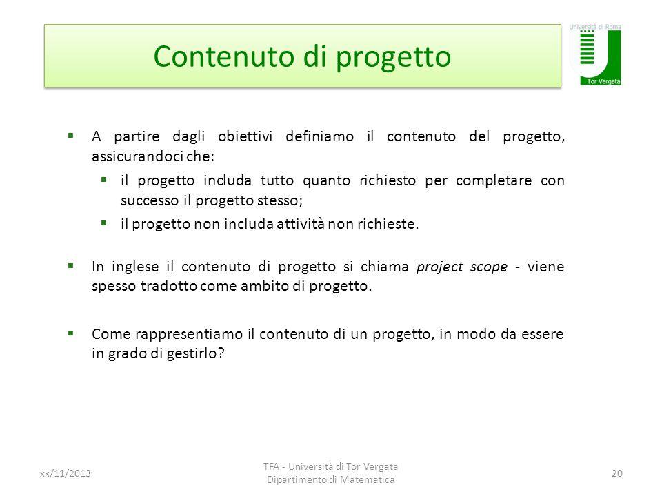 Contenuto di progetto xx/11/2013 TFA - Università di Tor Vergata Dipartimento di Matematica 20 A partire dagli obiettivi definiamo il contenuto del pr