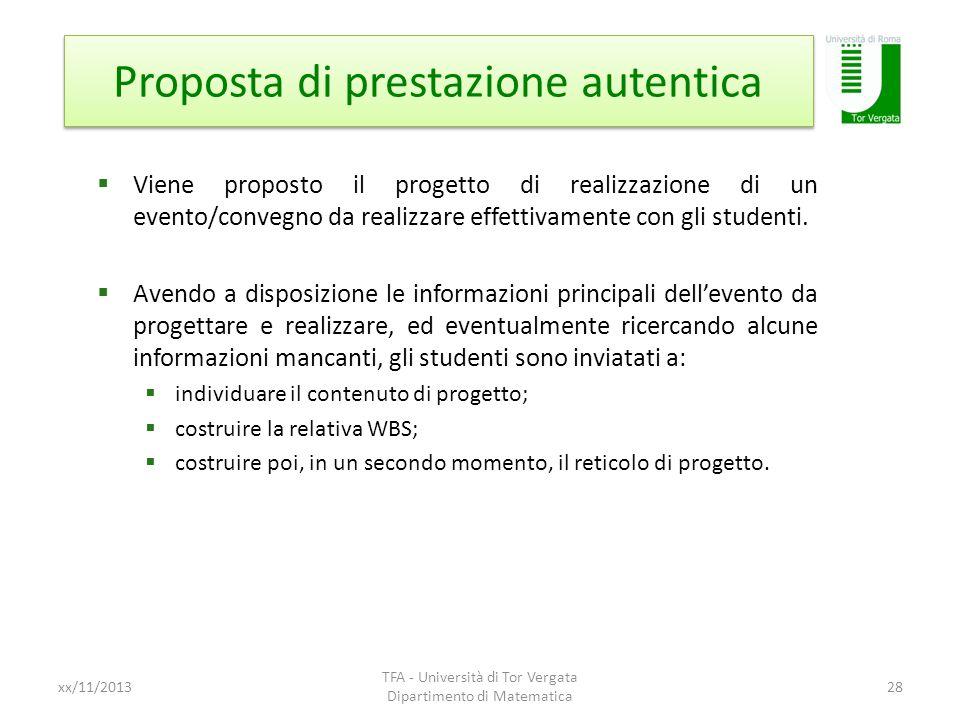 Proposta di prestazione autentica xx/11/2013 TFA - Università di Tor Vergata Dipartimento di Matematica 28 Viene proposto il progetto di realizzazione