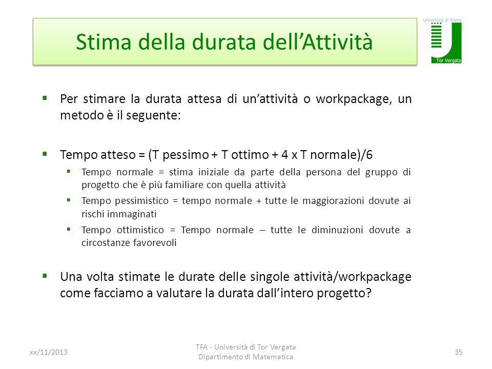 Stima della durata dellAttività xx/11/2013 TFA - Università di Tor Vergata Dipartimento di Matematica 35 Per stimare la durata attesa di unattività o