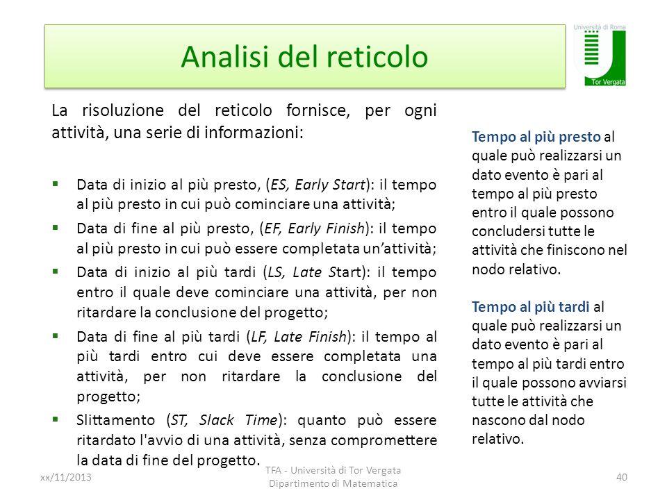 Analisi del reticolo xx/11/2013 TFA - Università di Tor Vergata Dipartimento di Matematica 40 La risoluzione del reticolo fornisce, per ogni attività,