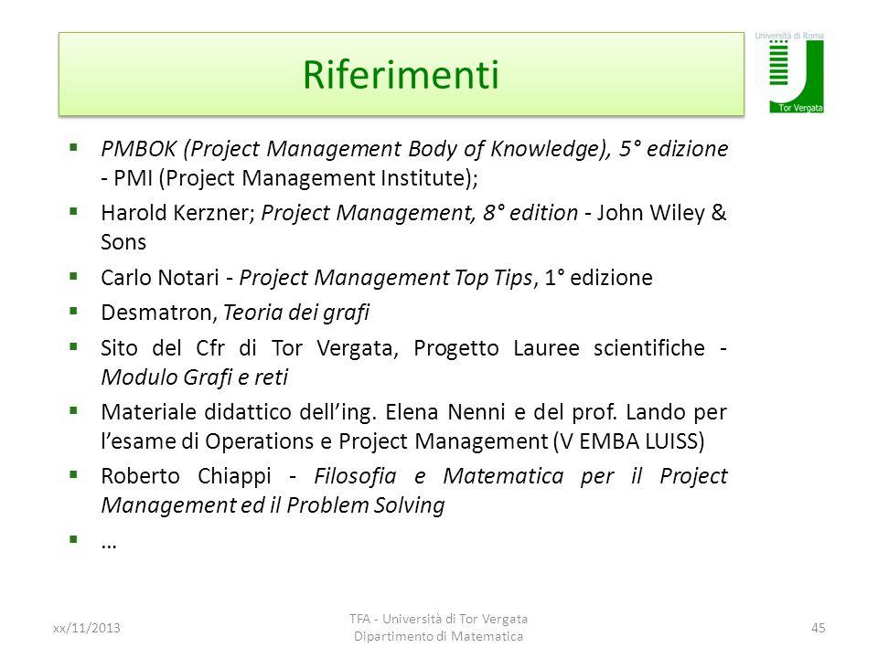 Riferimenti xx/11/2013 TFA - Università di Tor Vergata Dipartimento di Matematica 45 PMBOK (Project Management Body of Knowledge), 5° edizione - PMI (