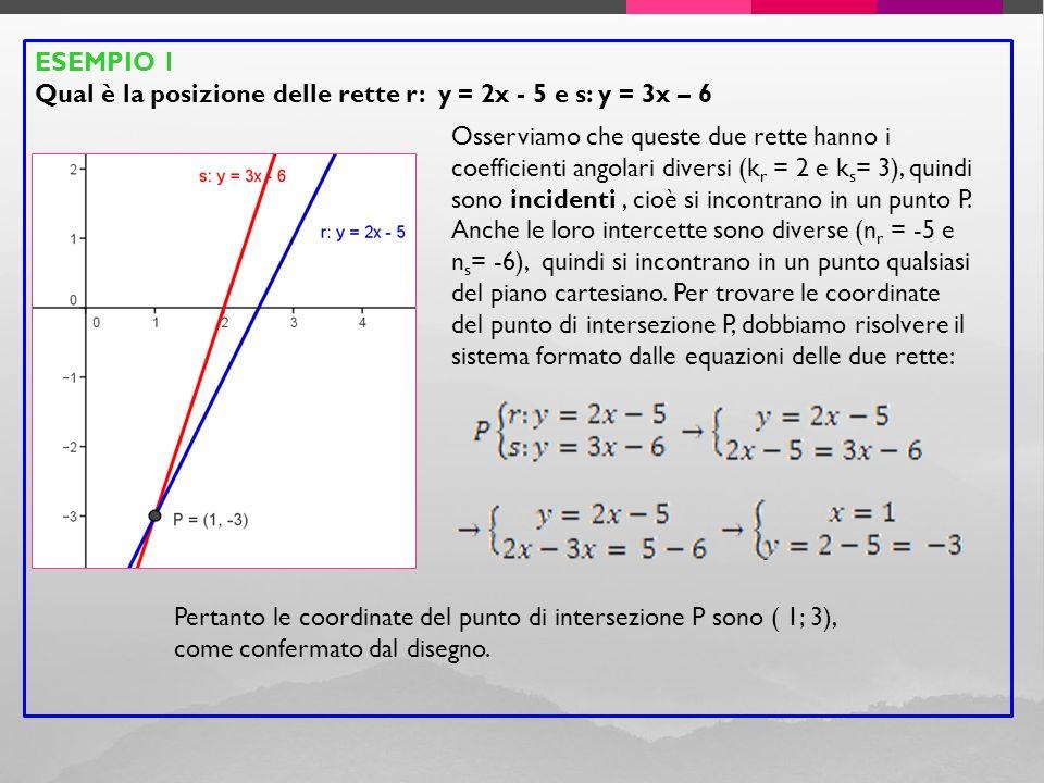 ESEMPIO 1 Qual è la posizione delle rette r: y = 2x - 5 e s: y = 3x – 6 Osserviamo che queste due rette hanno i coefficienti angolari diversi (k r = 2 e k s = 3), quindi sono incidenti, cioè si incontrano in un punto P.